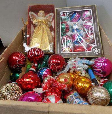 Large box of vintage Christmas decor