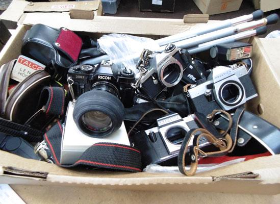Box of cameras, tripods & accessories