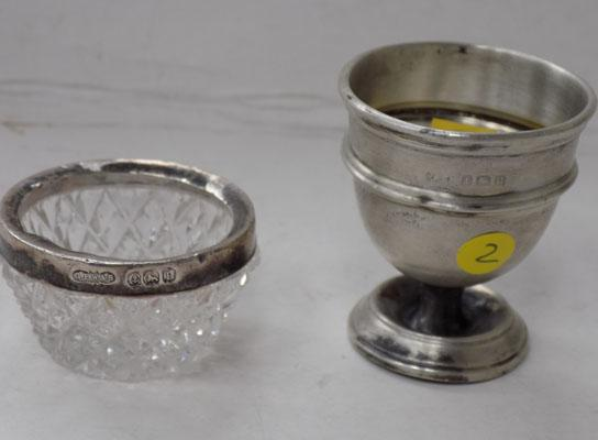Sterling Silver Birmingham Hallmarked Egg Cup & Crystal Pot