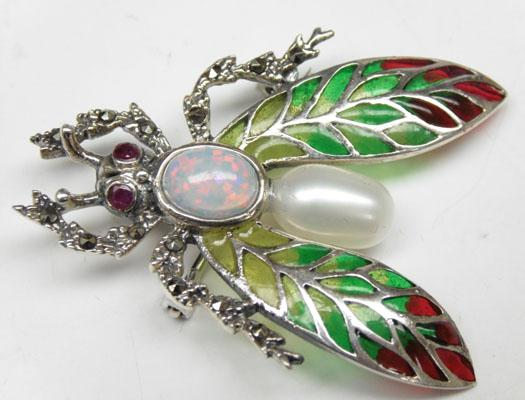 925 silver bug brooch/pendant set with pearl, opal, ruby and marcasite
