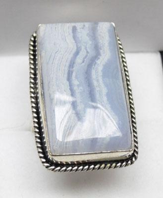 925 silver lace agate ring - size R 1/2