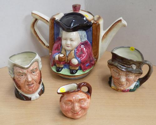 H J Wood Ltd Toby Jug and 3 small Royal Doulton Toby Jugs