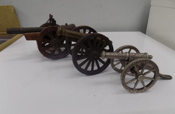3 ornate canons incl; silver plate