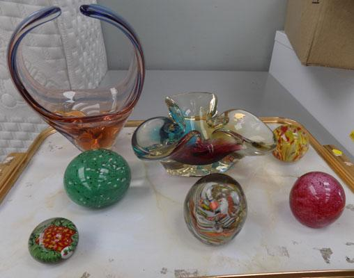 Selection of paperweights and glass