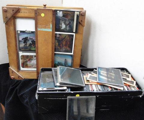 Box containing over 90 glass slides & old wooden viewer