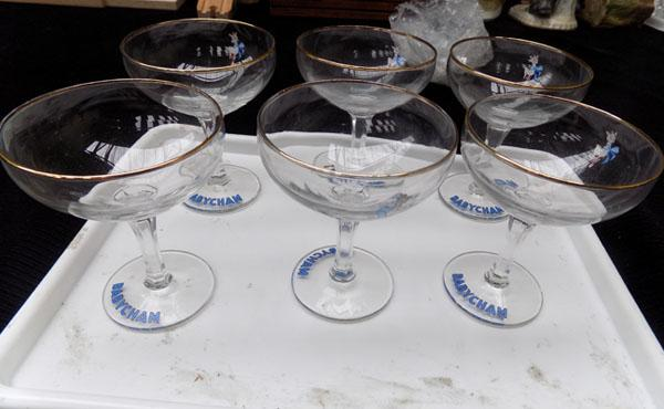 6 Babycham glasses & rare white Bambi