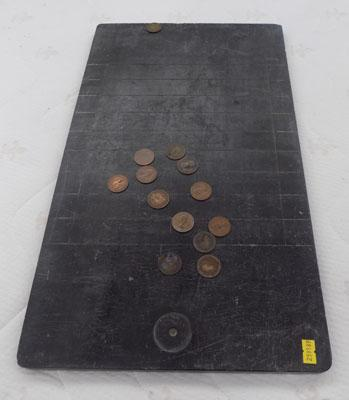 Vintage Halfpenny board and coins