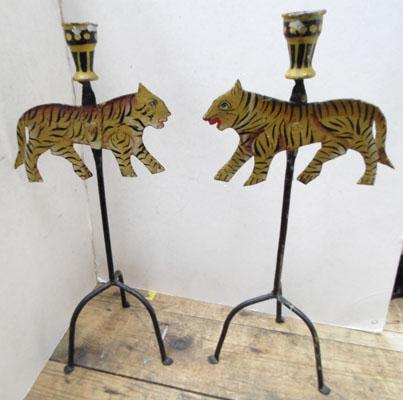 2 tiger candle holders