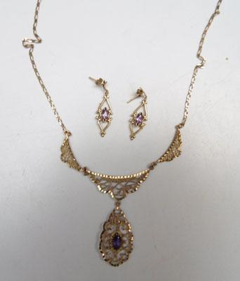 9ct gold necklace and earring set with amethyst
