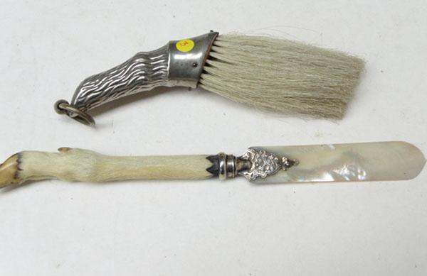 Silver mounted, mother-of-pearl, page turner & brush