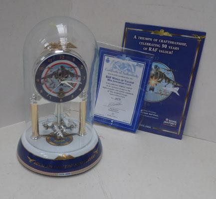 RAF 90th Anniversary domed clock with certificate
