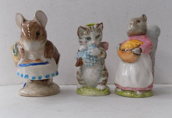 3 x Beswick Beatrice Potter figures - Apply Dapply - Goody Tiptoes - Miss Moppet