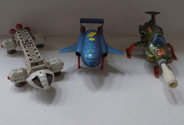 3 vintage Dinky Si-fi diecast - no 351 UFO interceptor & spaceship, Thunderbirds