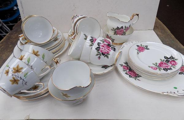 Lubern bone china tea set and Windsor china teaset