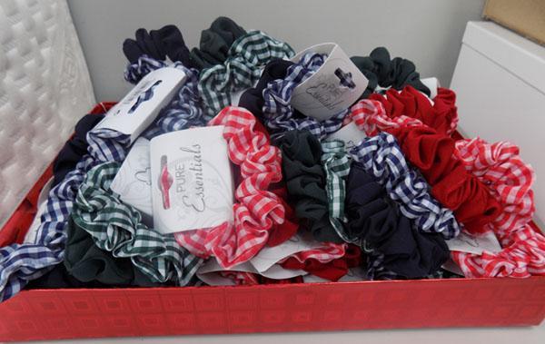 Box of new hair scrunchies