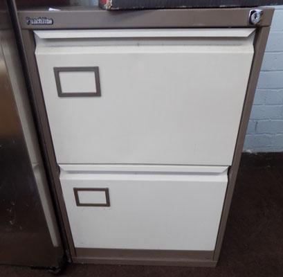 Two drawer metal filing cabinet