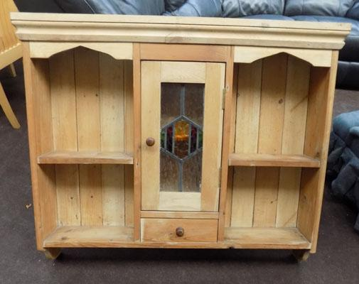 Pine kitchen wall unit with stained glass