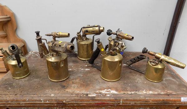 7 x vintage brass blow torches