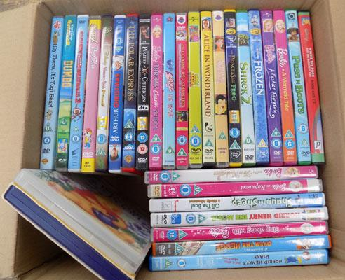 Small box of children's DVDs