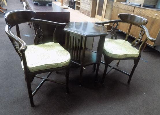 Beautiful carved Chinese table and two chairs