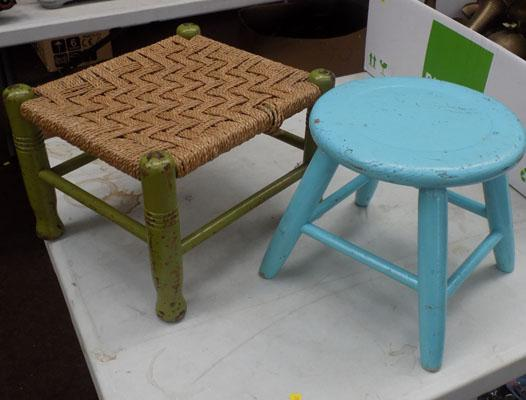 Blue Elm stool and green rush seat stool