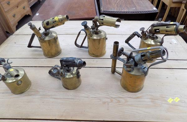 6 x vintage brass blow torches