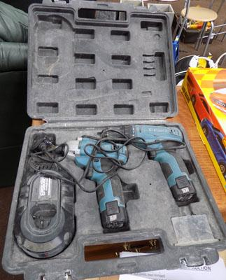 Erbauer 10.8 cordless twinpack drill & impact. 2 lithium batteries and charger - good working order