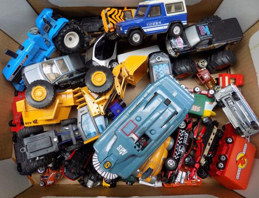 Mixed box of die-cast vehicles, incl. Thunderbirds etc...