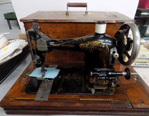 The Harns vintage sewing machine (key in office)