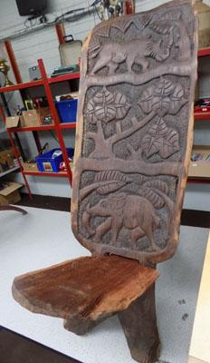 Hand carved Malawi chair, bought at Malawi market
