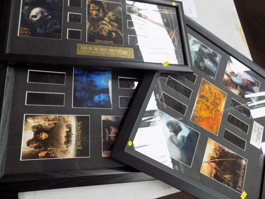 3 x Lord of the Rings pictures & film cells (limited edition)