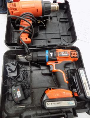 Black and Decker drill in case & Black & Decker heat gun