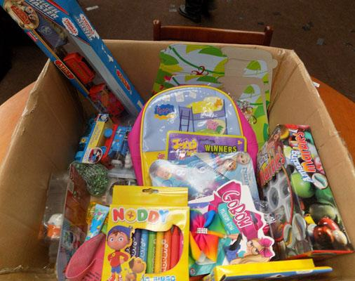 Box of mixed toys including Peppa Pig Backpack