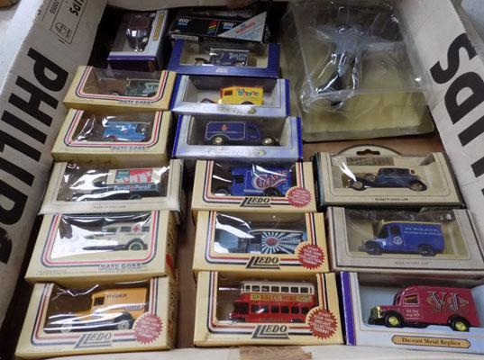 Box of boxed diecast cars and vans & Atlas diecast plane