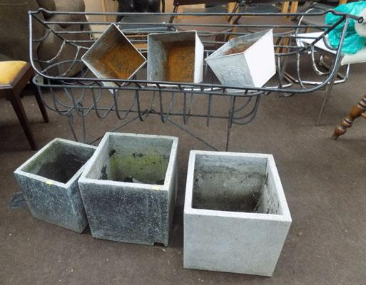 Selection of garden baskets and planters