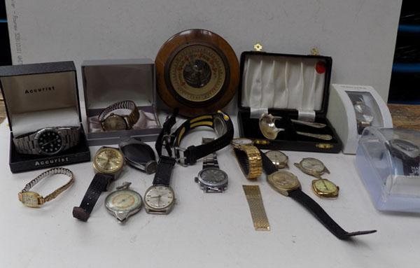 Box of misc watches and barometer