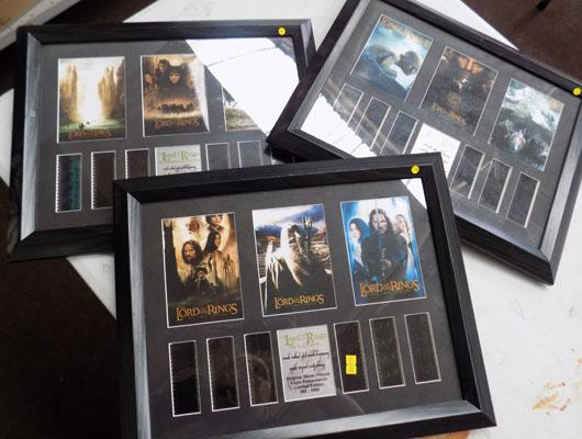 3 x medium Lord of the Rings pictures & film cells (limited edition)