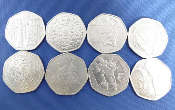 8 collectable 50 pence coins inc; olympics. NHS, Womens' vote