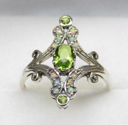 925 silver peridot and opal ring - size N