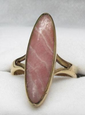 9ct gold pink agate dress ring - Size M