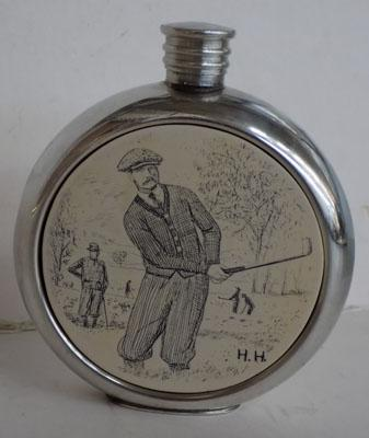 Golf themed flask - pewter