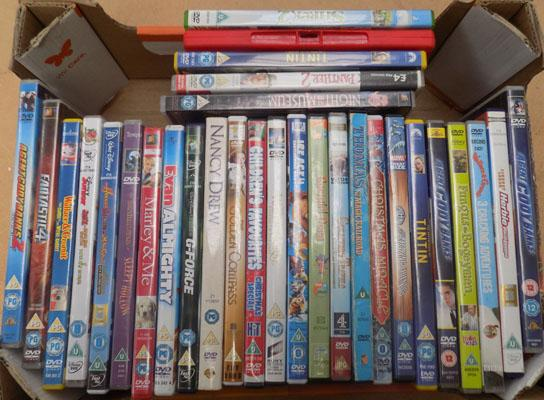 Box of childrens DVDs