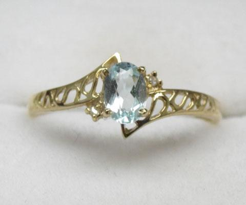 9ct gold blue topaz ring - size 0
