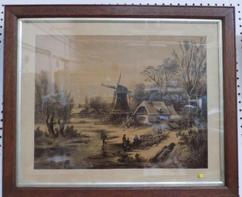 Pair of vintage lithographs in oak frames
