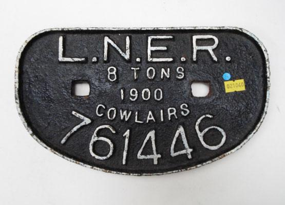 Wagon plate LNER 8 tonnes 1900 cowlairs metal plaque