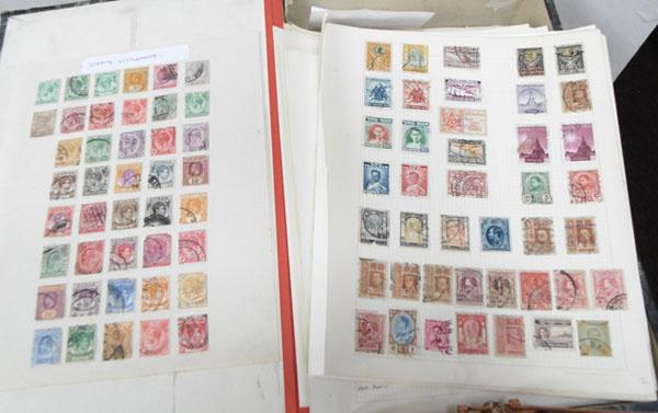 Box of many stamp albums sheets