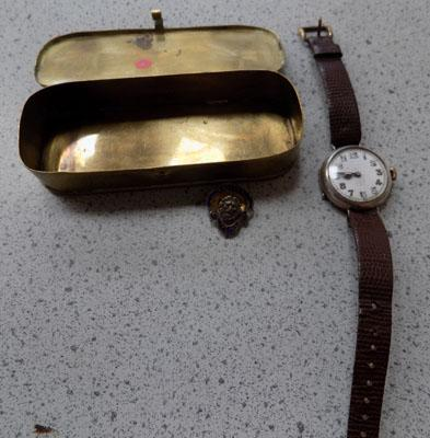 WW1 watch and badge in trench art box