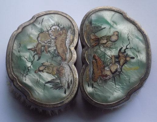 Pair of sterling silver and enamel brushes - Japanese scene - some damage
