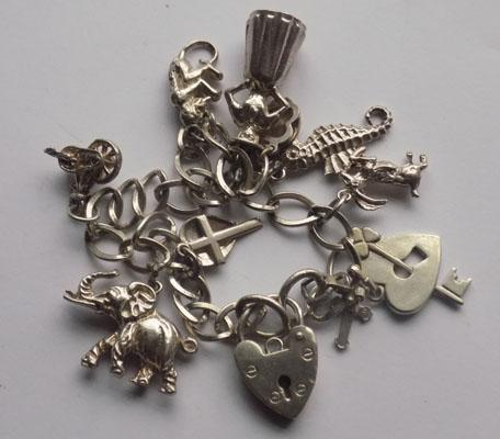 Sterling silver charm bracelet with charms