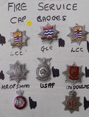 Card of Fire Service Cap badges (8)